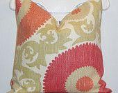 "Decorative Pillow Cover - 12"" x 19.5"" - KRAVET - Throw Pillow - Accent Pillow - Wildrose - Coral Red- Tan - Lumbar. $38.00, via Etsy."