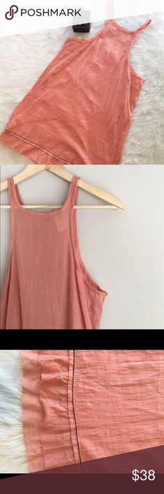 FP One Free People Linen Dress FP One by Free People salmon linen dress. Size small. EUC. Is a bit sheer. Very light weight and perfect for summer. Free People Dresses