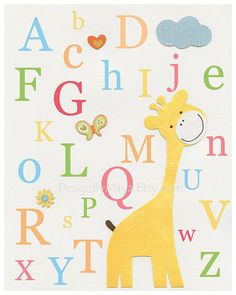 Nursery wall art Decor, Children Art print, play room art, Alphabet, abc print, yellow giraffe, butterfly, yellow, orange, green, pink, blu