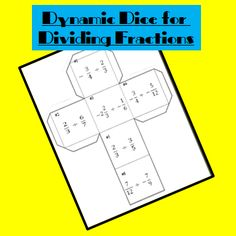 Freebie: Dynamic Dice for dividing fractions Dividing Fractions, Teaching Fractions, Math Fractions, Teaching Math, Math 8, Guided Math, Fun Math, Fraction Activities, Math Games