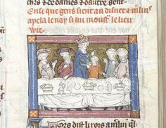Detail of a miniature of Arthur and Merlin at dinner at Pentecost, northern France (Saint-Omer or Tournai), c. 1316, Add MS 10292, f. 91r - See more at: http://britishlibrary.typepad.co.uk/digitisedmanuscripts/royal/page/3/#sthash.9I5rnn9M.dpuf
