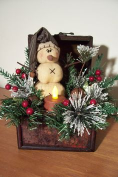 Vintage Asian Chest with prim snowman & cinnamon coated flicker tea light.......$25