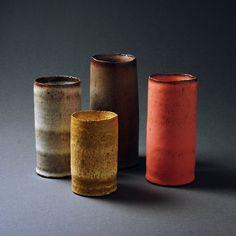 Handmade ceramics by Tortus Copenhagen. Set of Unika Cylinders.