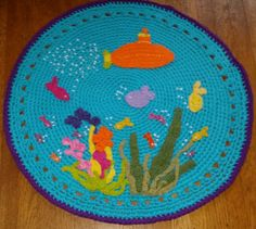 Under the Sea RugCrochet Rug Small Rug by ParkerWittySoftgoods