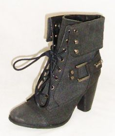 Ladies low heel lace up buckle military style boots NEW