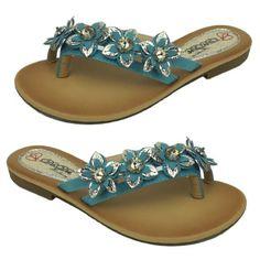 Jeweled Flip Flops for Women | Blue Elegant Womens Flip Flops Flower Rhinestone Thongs Flat Shoes ...