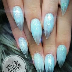 Almond nails with frosty blue sparkly nail design! Frosty nails by @dariennails - Ugly Duckling Nails page is dedicated to promoting quality, inspirational nails created by International Nail Artists  #nailartaddict #nailswag #nailaholic #nailart #nailsofinstagram #nailartists #instagr