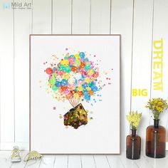 Modern Watercolor Minimalist Abstract Canvas A4 Art Print Poster Up Ballon House Fly Wall Pictures Home Decor Paintings No Frame