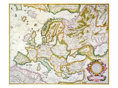 Map Of Europe, 1623, traced family to England, Ireland, and Germany during this time, perfect for framing!