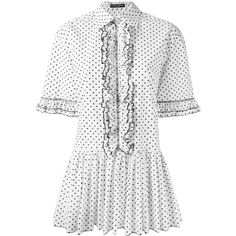 Dolce & Gabbana polka dot shirt dress (6.350.225 IDR) ❤ liked on Polyvore featuring dresses, white, white dresses, white ruffle dress, t-shirt dresses, shirt dresses and white shirt dress