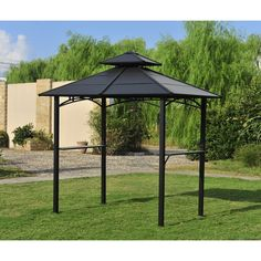 Exterior: Glamorous Hardtop Grill Gazebo And Hardtop Gazebo Outdoor Furniture from Anything About Hardtop Gazebo You Better Know Steel Gazebo, Gazebo Roof, Grill Gazebo, Patio Pergola, Garage Pergola, Pergola Curtains, Patio Canopy, Metal Pergola, Pergola With Roof