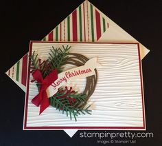 12 More Ideas for Retiring Stampin' Up! (Mary Fish, Stampin' Pretty The Art of Simple & Pretty Cards) Stamped Christmas Cards, Beautiful Christmas Cards, Stampin Up Christmas, Christmas Cards To Make, Xmas Cards, Handmade Christmas, Holiday Cards, Merry Christmas, White Christmas