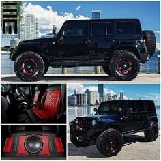 all black Jeep, red interior