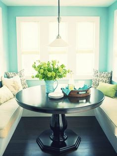 Cool idea for cozy kitchen. Love the pop of turquoise!