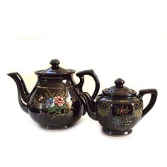 Vintage Pair Redware Teapots Large and Single Cup Brown Glaze... ($24) ❤ liked on Polyvore featuring home, kitchen & dining, teapots, single serving teapot, vintage tea pots, vintage teapots, single serve teapot and gold teapot