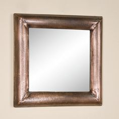 Square Lightly Hammered Copper Mirror - Antique Copper