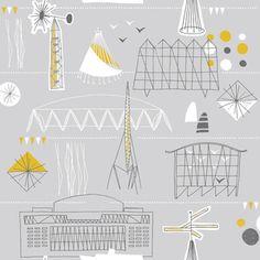 Festival Wallpaper :: Mini Moderns #grey #mustard #retro #wallpaper #interiors