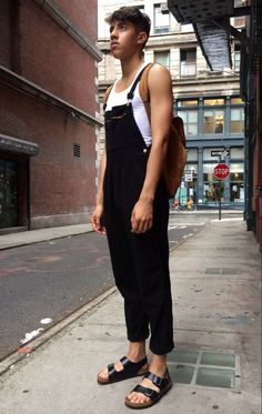 neutral lumbersexual in black + white overalls + tank combo // menswear overalls style + fashion