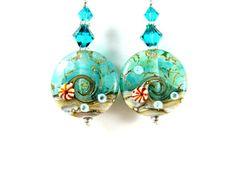 Ocean Earrings Teal Earrings Beach Earrings by GlassRiverJewelry