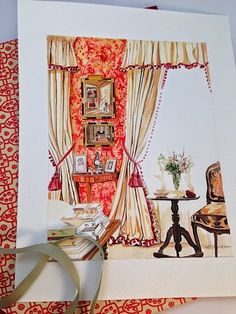 Watercolor of a Room Decorated by Nina Campbell | Beth Scanlon