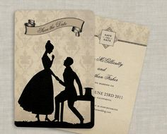 Silhouette Save the Date Wedding Invitations Vintage by GoGoSnap, $90.00