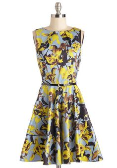 Luck Be a Lady Dress in Daffodils by Closet - Mid-length, Multi, Floral, Exposed zipper, Pockets, Belted, Daytime Party, A-line, Sleeveless, Variation