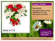 Bouquet de lilies y rosas en color blanco y rojo decorado con moño