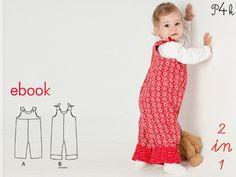 Schnittmuster Overall Lilli & Bo für Kinder, Mädchen oder Junge. Ebook PDF mit Nähanleitung, Download, Schnitt, Strampler, Schlaufen, Knöpfe von pattern4kids auf Etsy