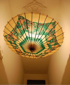 I have a lovely Japanese vintage-looking lace parasol I got from a second hand shop. Perhaps I can do this. And go to that shop (all the way in Johor) and look for more muahaha  Flickr Find: DIY Parasol Light
