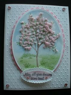 "Selma's Stamping Corner and Floral Designs: Springtime - Love the ""Flower Soft"" used here! card idea, pink flowers, springtim flower, selma stamp, stamp corner, tree, cart, floral designs, flower soft cards"