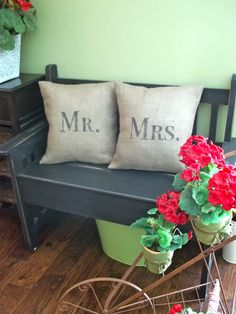 Burlap Mr and Mrs pillows