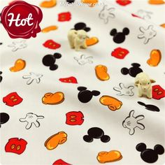 BESTSELLER   Disney ♥ 47x47cm 'You know it's Mickey' Cotton Fat Quarter Fabric