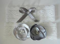 Wedding Garter Set, Bridal Garter Set, Garter, Gray Flower Garter, Lace Garter, Garter Belt, Wedding Garter Belt, Silk Satin Handmade Flower