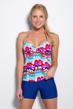 With colorful waves of white, red, orange, dream blue and turquoise, our White Desert Wave Twist Tankini is white hot and is one of our most popular #tankini styles! #PalmDesert #Swimwear www.hapari.com