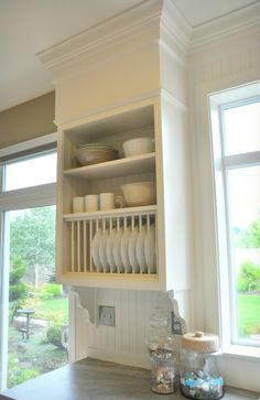 Plate rack | Formica Soapstone Sequoia counters | Built up faux bulkhead with millwork