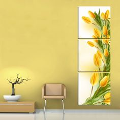 modern abstract 3 panel wall art yellow tulip flower print on canvas art picture painting for home decoration 3 Panel Wall Art, Canvas Wall Art, Tulip Painting, Green Home Decor, Yellow Tulips, Floral Wall Art, Wall Art Pictures, Home Interior, Wall Design
