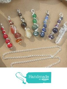 7 Chakras Wire Wrapped Pendants with Sterling Silver Necklace / 7 Pendants + Necklace / 8 piece Wire Wrapped Pendant Chakra Set from Wholistic Blessings http://www.amazon.com/dp/B018BLYB2W/ref=hnd_sw_r_pi_dp_O2gCwb0KZY556 #handmadeatamazon