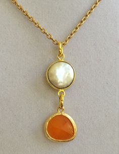 Coin Pearl and Tangerine Crystal Necklace by joytoyou41 on Etsy, $30.00