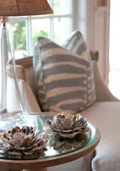 Lovely oyster shell votive candle holders.