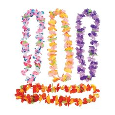 Ready to make your big beach bash lu-WOW-worthy? All you need is leis! Perfect for party favors and decorations, these Ruffle Flower Leis come in vivid colors . Hawaiian Party Decorations, Hawaiian Luau Party, Hawaiian Theme, Hawaiian Leis, Tropical Party, Hawaiin Theme Party, Hawaiin Party Ideas, Hawaiian Baby, Hawaiian Tiki