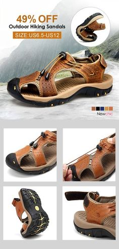 off】Large Size Men Stitching Genuine Leather Anti-collision Toe Lace Up Outdoor Beach Sandals. off】Large Size Men Stitching Genuine Leather Anti-collision Toe Lace Up Outdoor Beach Sandals. Beach Shoes, Beach Sandals, Men's Sandals, Men's Shoes, Shoe Boots, Dress Shoes, Fashion Models, Mens Fashion, Men Fashion
