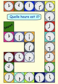 Three Telling Time Games for Grade 1 (French) by Carmela Fiorino Vieira There are 3 Telling Time games in this package. Telling Time Matching Game This game includes 24 clocks with time on the hour and half hour and 24 time clocks with digital time. French Teaching Resources, Teaching French, Teaching English, Teaching Spanish, Teaching Time, Learn To Tell Time, Learn To Speak French, Learn Spanish, Games For Grade 1