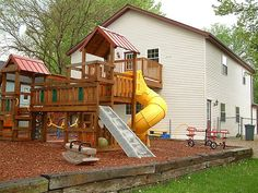 A shot of the backyard playground with the preschool building in the background.   Inspiring, I Like This, Keep Up The Great Work, {also|by the way|if yo