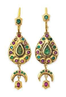 A PAIR OF MOROCCAN GEM-SET GOLD EARRINGS 19th or early 20th Century