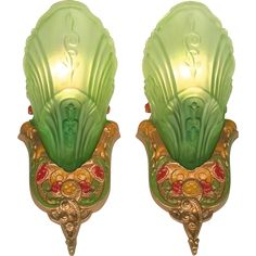 American transitional Art Deco - Art Nouveau period green frosted glass Slip shade sconce wall light set / pair Chandelier original c1920 -- found at www.rubylane.com @rubylanecom #VintageBeginsHere #artnouveau