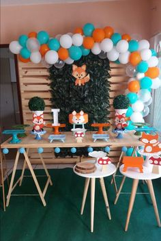 Baby Shower Deco, Baby Shower Parties, Baby Boy Shower, Fox Party, Baby Boy 1st Birthday Party, Creation Deco, Boy Decor, Woodland Party, Birthday Party Decorations