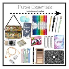 """Purse essentials"" by megan9812 on Polyvore featuring Happy Plugs, Marvel, Caran D'Ache, Visconti, Swarovski, Topshop, Crate and Barrel, River Island, Ladurée and Urban Decay"