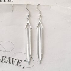 Silver Art Deco Earrings, Dangly Earrings, Drop Earrings, Silver Earrings, Geometric Earrings, Deco Wedding by TemporalFlux on Etsy https://www.etsy.com/listing/95632538/silver-art-deco-earrings-dangly-earrings