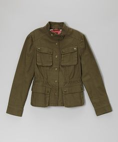 Take a look at this Olive Veruca Twill Military Jacket  - Girls by Collection B on #zulily today!
