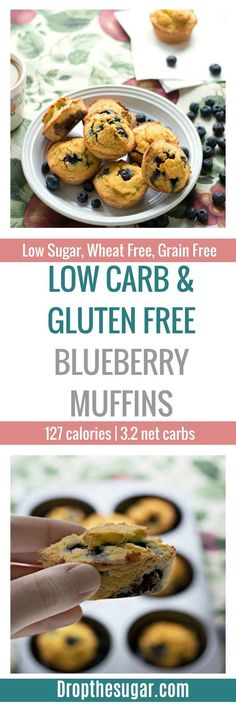 Low Carb and Gluten Free Blueberry Muffins an easy to make sugar free blueberry muffins recipe. If you're looking for a coconut flour muffin recipe, this is one you must try! Pin now to make later! Sugar Free Blueberry Muffins, Coconut Flour Muffins, Blue Berry Muffins, Mini Muffins, Low Carb Sweets, Low Carb Desserts, Low Carb Recipes, Diabetic Recipes, Banting Recipes